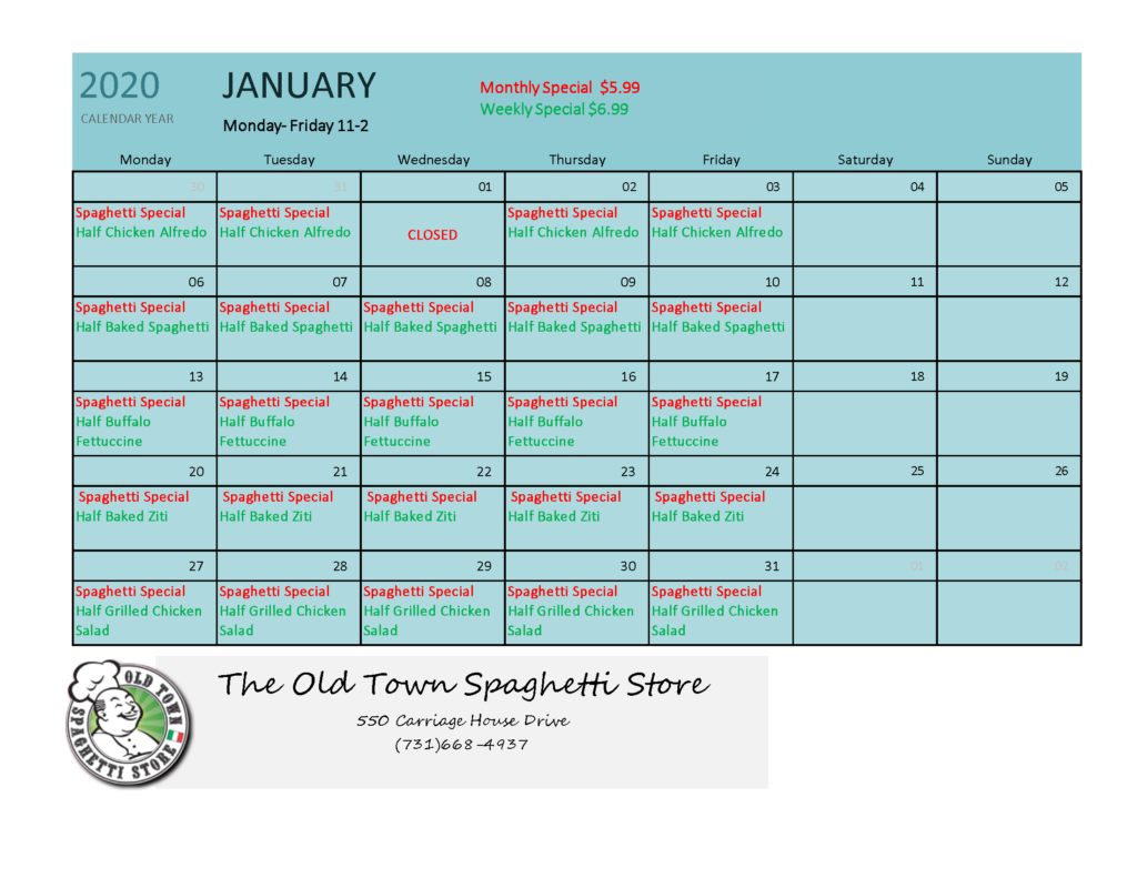 January Specials Old Town Spaghetti Store