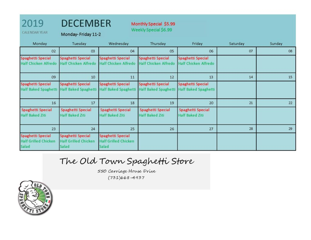 December Specials Old Town Spaghetti Store